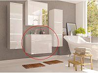 Koupelnová skříňka pod umyvadlo Mason (bílá + bílá extra vysoký lesk)