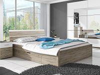 Manželská postel 160 cm Typ 51 (san remo světlý + bílá)