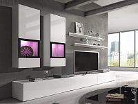 Obývací stěna Typ 10 (bílá + bílý lesk)