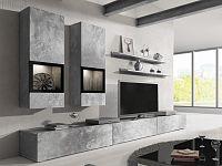 Obývací stěna Typ 10 (světlý beton)