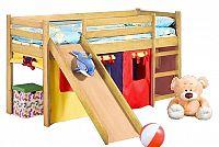 Patrová postel 80 cm Neo Plus Borovice (masiv, s roštem a matrací)