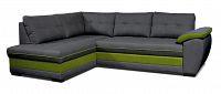 Rohová sedací souprava Aruba L+2F (tmavě šedá + zelená) (L)