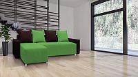 Rohová sedací souprava Briston s opěrkami (tmavě hnědá zelená + polštáře)