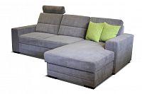 Rohová sedací souprava Nelson 2F+L (šedá + zelené polštáře) (P)