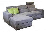 Rohová sedací souprava Nelson L+2F (šedá + zelené polštáře) (L)
