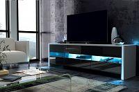 TV stolek/skříňka Fox (bílá + lesk černý)