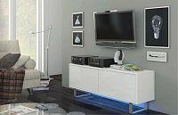 TV stolek/skříňka King 1 (bílá + lesk bílý)