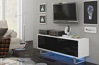 TV stolek/skříňka King 1 (bílá + lesk černý)