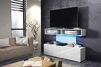 TV stolek/skříňka Rex (bílá + lesk bílý)