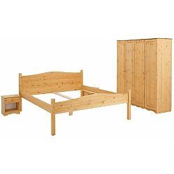 3dílný ložnicový dvoulůžkový set z borovicového dřeva Støraa Maine