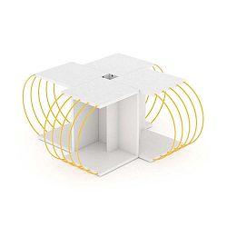 4dílný variabilní konferenční stolek se žlutými detaily George