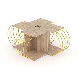 4dílný variabilní konferenční stolek v dekoru dubového se žlutými detaily dřeva Marly