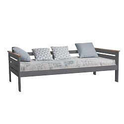 Antracitově šedá jednolůžková postel z masivního borovicového dřeva Marckeric Alba, 90x190cm
