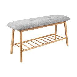Bambusová lavice s šedým sedákem Leitmotiv Bench