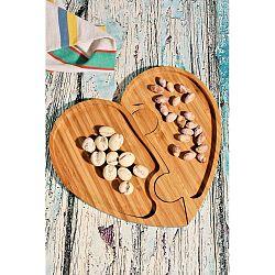 Bambusový podnos Kutahya Snacks Hearty, 26 x 24 cm