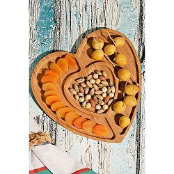 Bambusový servírovací tác ve tvaru srdce Kutahya Snacks Lovely, 27 x 28 cm