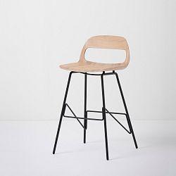 Barová židle se sedákem z masivního dubového dřeva a černými nohami Gazzda Leina, výška84cm
