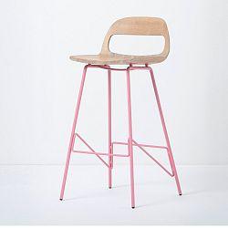 Barová židle se sedákem z masivního dubového dřeva a růžovými nohami Gazzda Leina, výška94cm