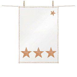 Bavlněná kuchyňská utěrka s vánočními motivy v měděné barvě PPD Star Fashion Copper, 48 x 68 cm