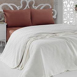 Bavlněný lehký přehoz přes postel Pique Cream, 200 x 240 cm