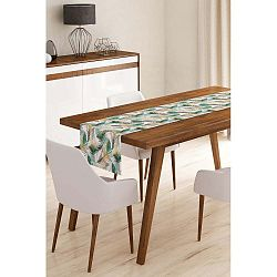 Běhoun na stůl z mikrovlákna Minimalist Cushion Covers Green Feathers, 45x145cm