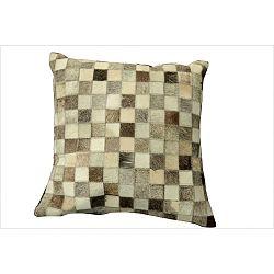 Béžovo-šedý polštář z hovězí usně s výplní Hide,45x45cm