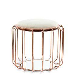Béžový odkládací stolek / puf s konstrukcí ve zlaté barvě 360 Living Canny, ⌀ 50 cm