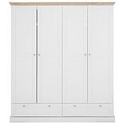 Bílá čtyřdveřová šatní skříň s detaily v dubovém dekoru Støraa Bruce