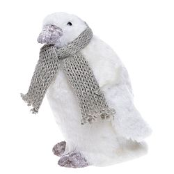 Bílá dekorace Ewax Pinguino, výška 17cm