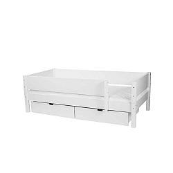 Bílá dětská postel s bezpečnostními postranními pelestmi a 2 zásuvkami Manis-h Mimer 90x200cm