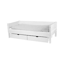 Bílá dětská postel s postranní pelestí a 2 zásuvkami Manis-h Sif, 90x200cm