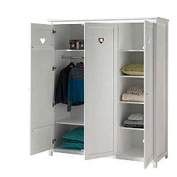 Bílá dětská šatní skříň Vipack Amori, výška 190 cm