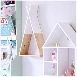Bílá dřevěná nástěnná polička North Carolina Scandinavian Home Decors Teepee L