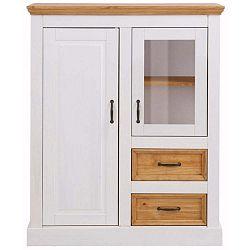 Bílá dvoudveřová skříňka z masivního borovicového dřeva Støraa Suzie