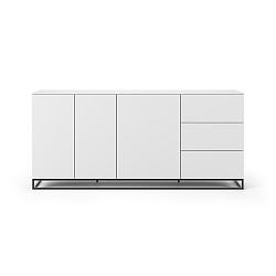 Bílá komoda s bílou deskou s 3 šuplíky a 3 a černýma nohama dvířkami TemaHome Join