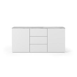 Bílá komoda s deskou z bílého mramoru s 3 šuplíky a 2 dvířkami TemaHome Join
