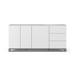 Bílá komoda s deskou z bílého mramoru s 3 šuplíky a 3 dvířkami a černýma nohama TemaHome Join
