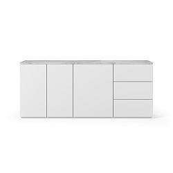 Bílá komoda s deskou z bílého mramoru s 3 šuplíky a 3 dvířkami TemaHome Join