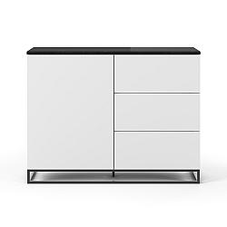 Bílá komoda s deskou z černého mramoru s 3 šuplíky a 3 policemi a černýma nohama TemaHome Join