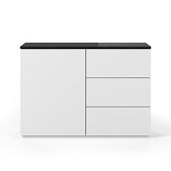 Bílá komoda s deskou z černého mramoru s 3 šuplíky a 3 policemi TemaHome Join