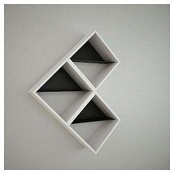 Bílá nástěnná police Daniele Triple White/Black, šířka 56 cm