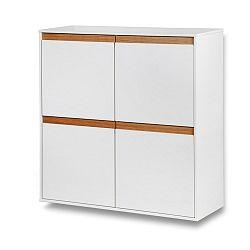 Bílá nástěnná skřínka s dřevěnými detaily Dřevotvar Ontur42
