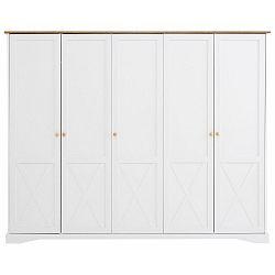 Bílá pětidveřová šatní skříň Støraa Aldo