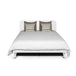Bílá postel s bílými nohami z masivního dřeva TemaHome Mara, 160 x 200 cm