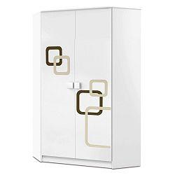 Bílá rohová dvoudveřová skříň Faktum Polly
