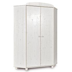 Bílá rohová šatní skříň z borovicového dřeva Faktum Tomi