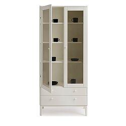 Bílá ručně vyráběná dvoudveřová vitrína z masivního březového dřeva Kiteen Matinea