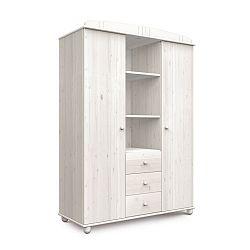 Bílá šatní skříň z borovicového dřeva Faktum Tomi