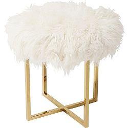 Bílá stolička s detaily ve zlaté barvě Kare Design Mr Fluffy