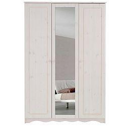 Bílá třídveřová šatní skříň se zrcadlem z masivního borovicového dřeva Støraa Amanda